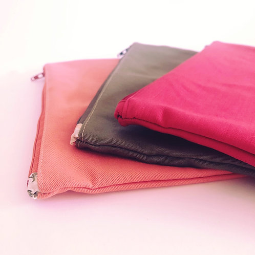 Embroidered make-up pouch