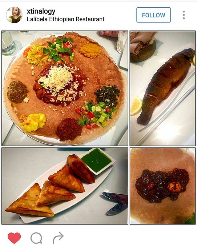 Repost from our lovely customer.  Cornis with veggie, doro wot,  fish and sambuss