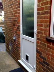 REHAU uPVC door with catflap