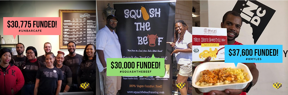 Three successful Honeycomb campaigns are featured with the amount of funds raised