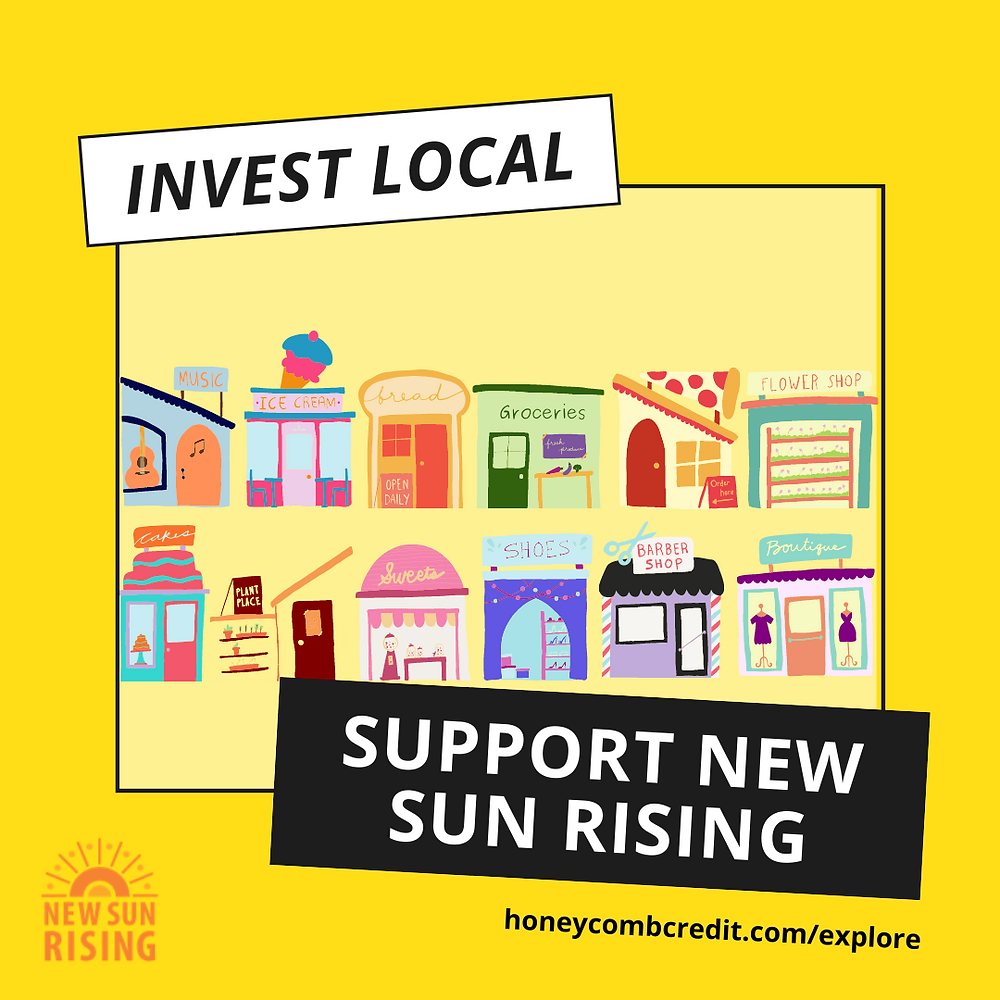 """Graphic of small business storefronts reads """"Support New Sun Rising"""""""