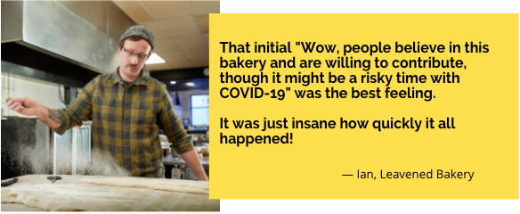 """Quote from owner Ian of Leavened Bakery, """"That initial, 'Wow, people believe in this bakery and are willing to contribute, though it might be a risky time with COVID-19' was the best feeling. It was just insane how quickly it all happened!"""""""