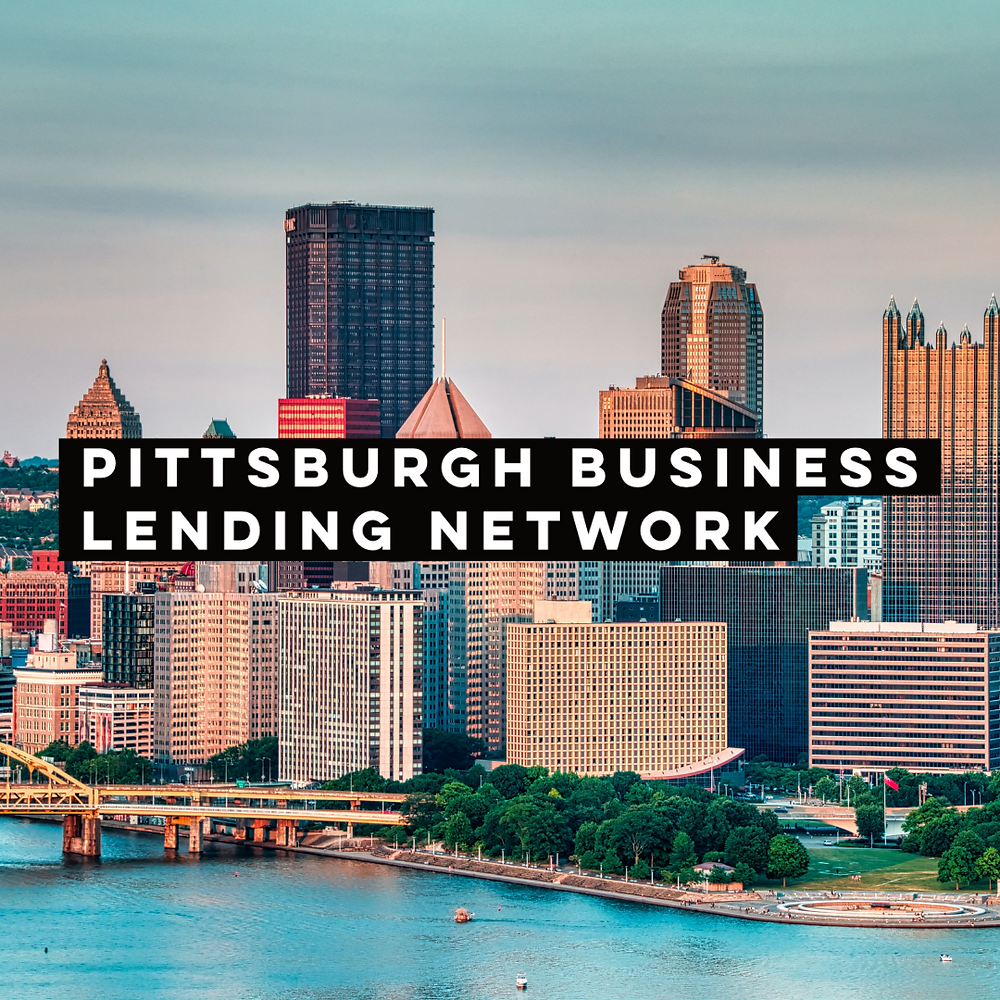 """Graphic of the Pittsburgh skyline and river that reads """"Pittsburgh Business Lending Network"""""""