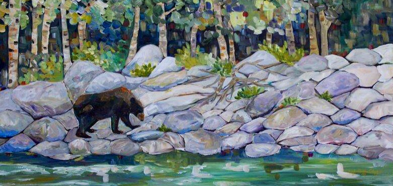 "Waterton Bear 24 X 48"" sold"