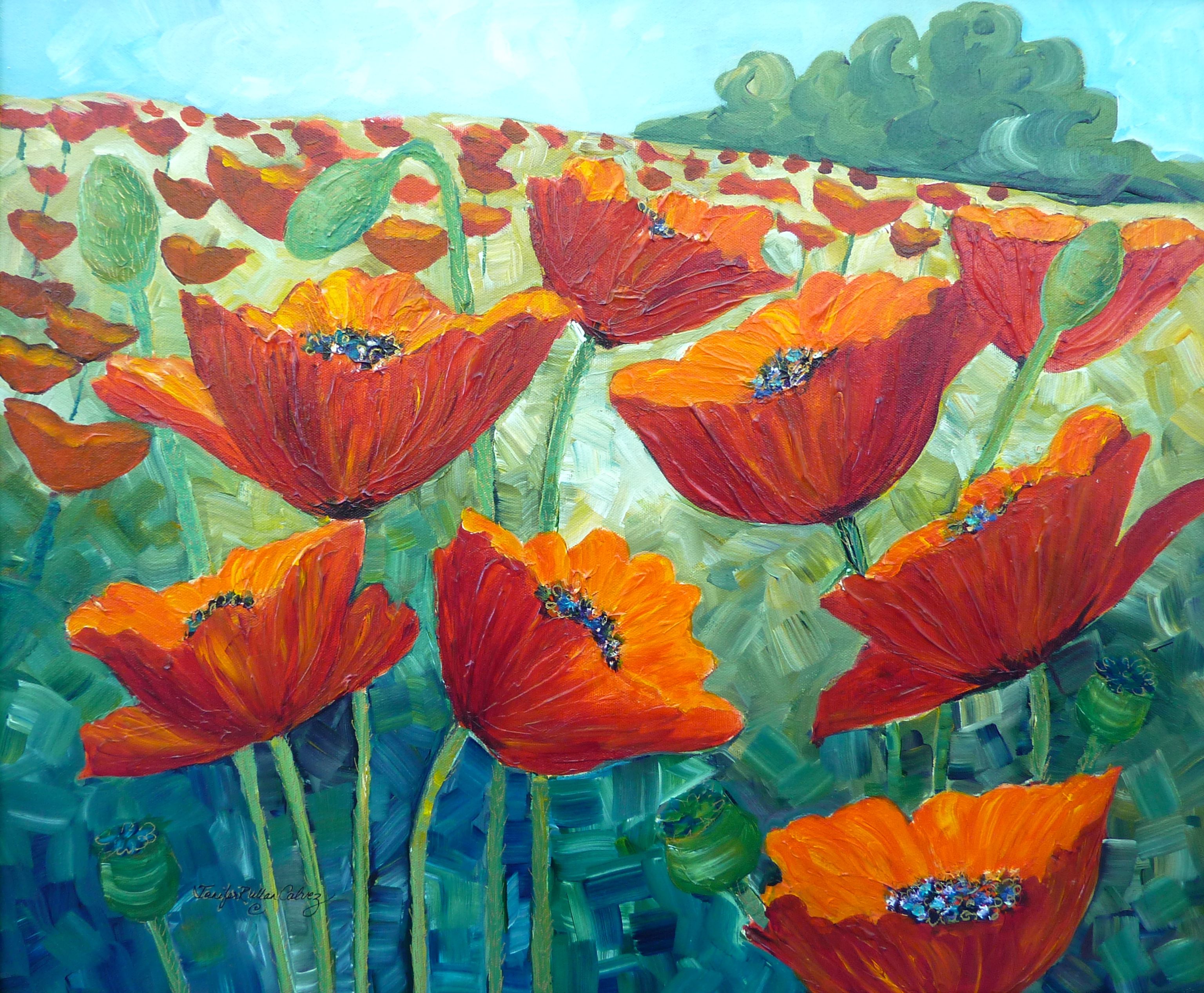"""Poppy Field"" 20 X 30"" framed"