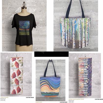 VIDA products: Scaves, shirts, bags
