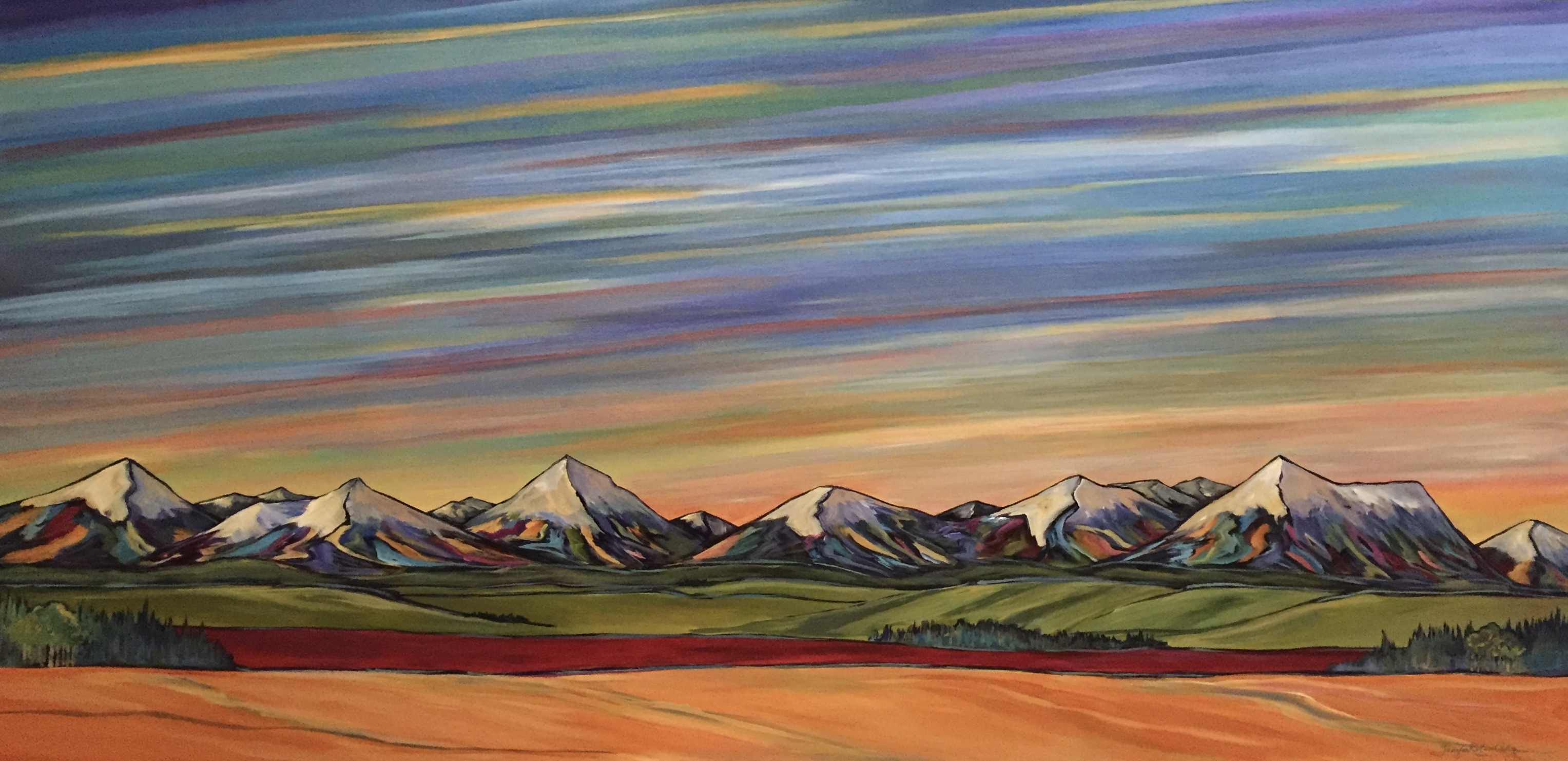 "Alberta Sky Series 24 X 48"" commission"