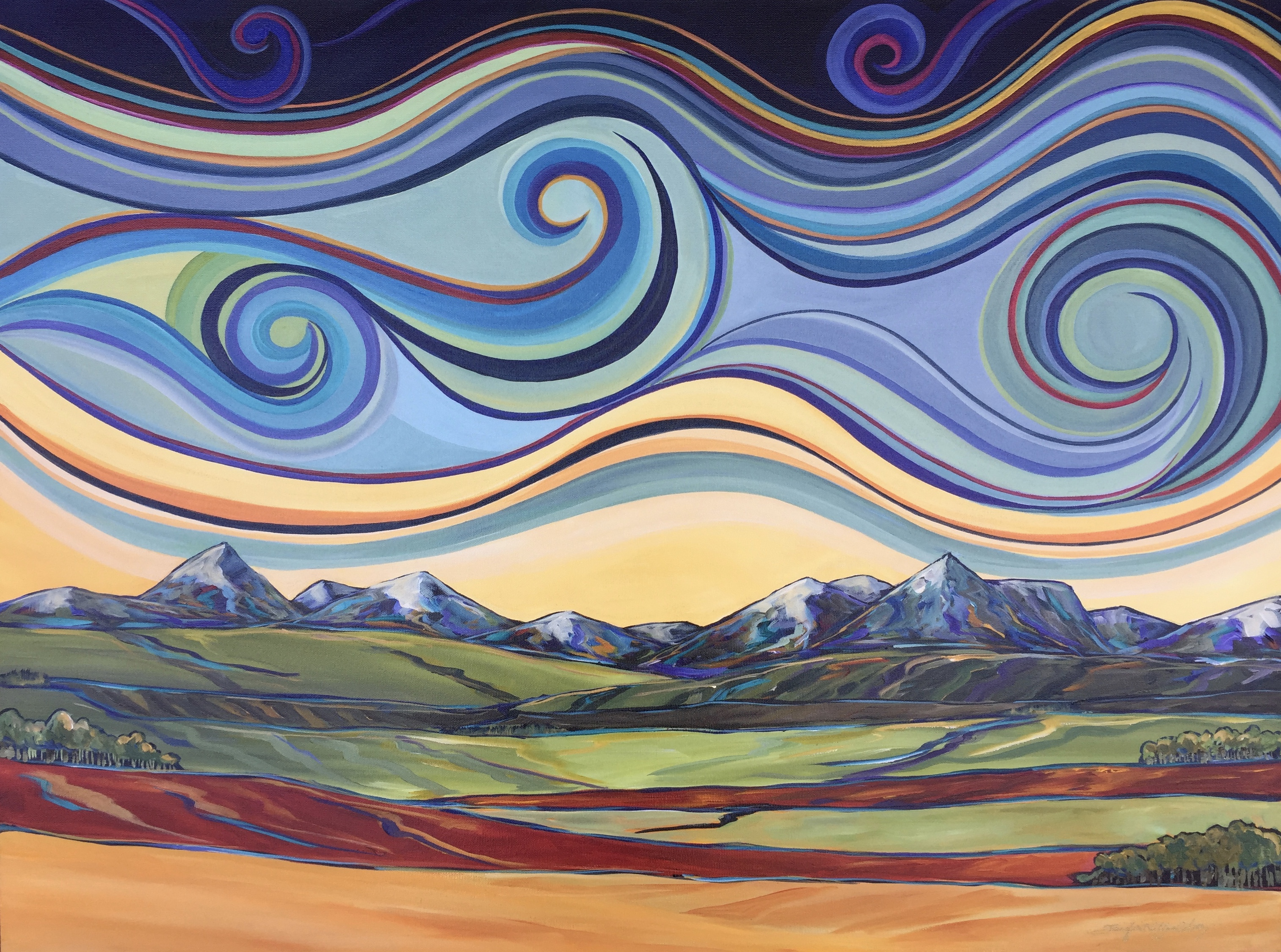 "Southern Alberta Swirls 24 X 36"" SOLD"