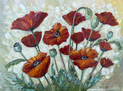 """Poppies 18 X 24"""" SOLD"""
