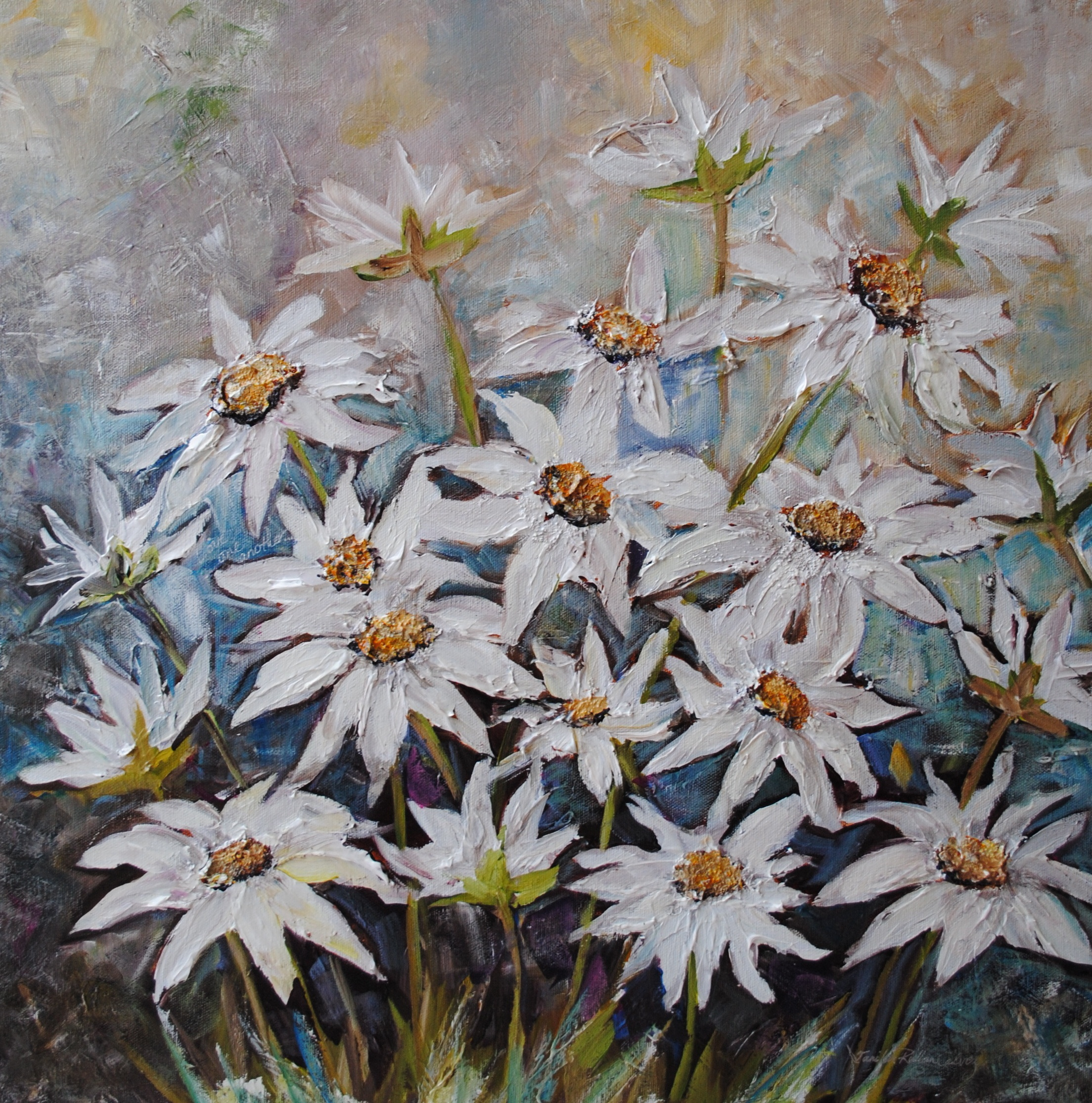 """Daisies"" 20 X 20"" Acrylic on Canvas"