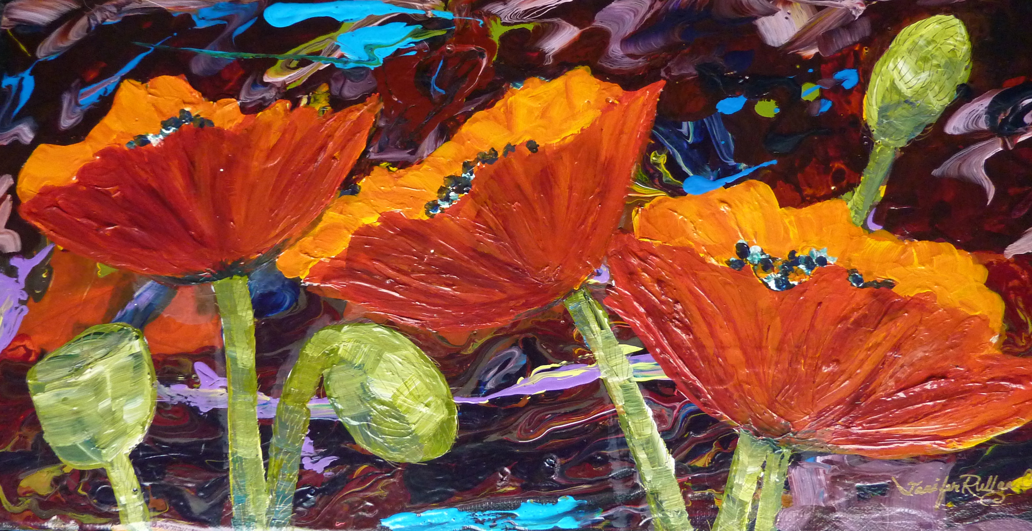 """Three Poppies"" 10 X 20"""