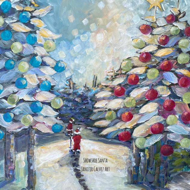 Snowshoe Santa  Christmas Cards
