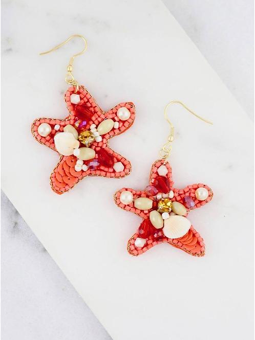 Scuba Beaded Starfish Hook Earrings