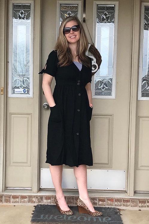 Black Button Detail Dress