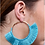 Thumbnail: Thread wrapped hoop earring with fringe