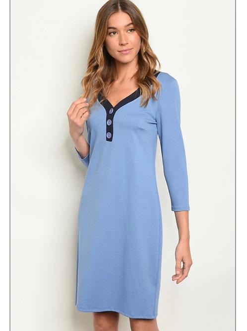 Blue V Neck Button Dress