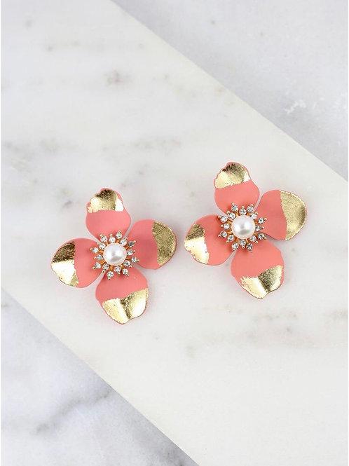 Pink Flower Post Earrings