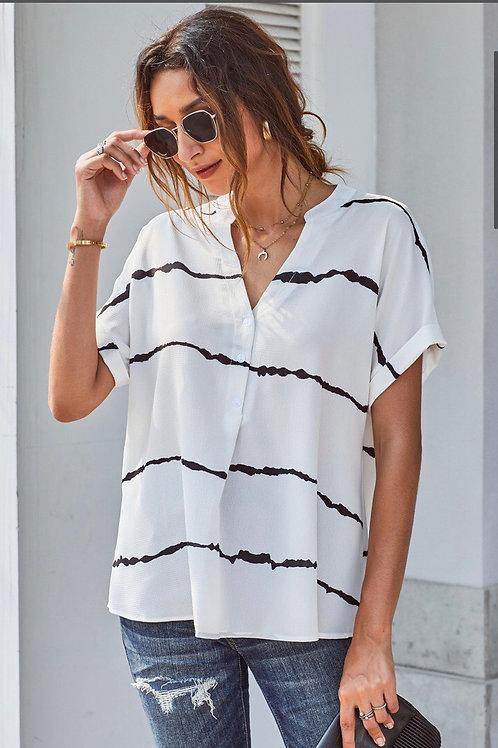 White tie dye stripe top