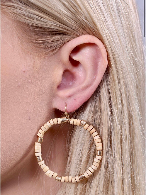 Wooden Hoop Earring with Gold Spacers