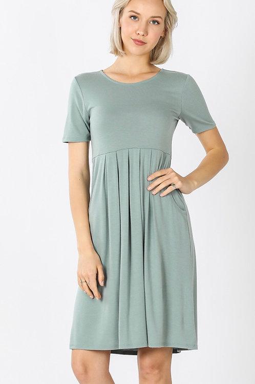 Sage Green Pocket Dress
