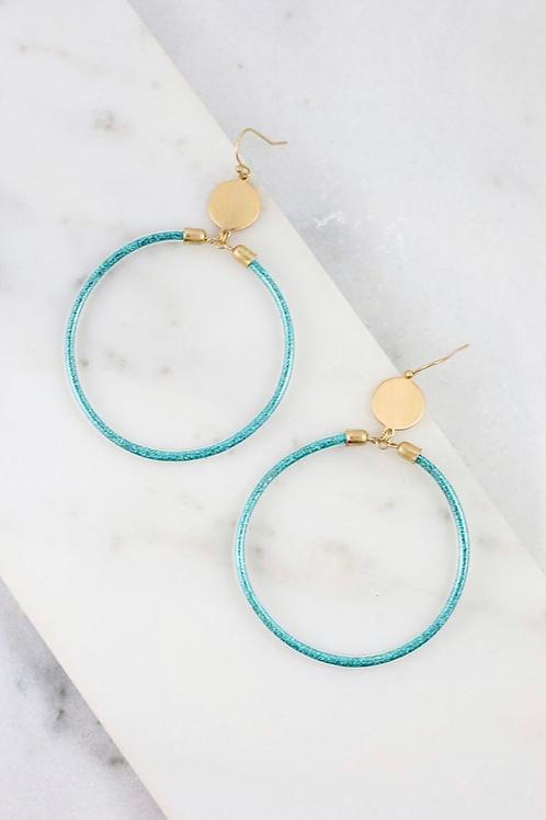Teal Round Glitter Fish Hook Earrings