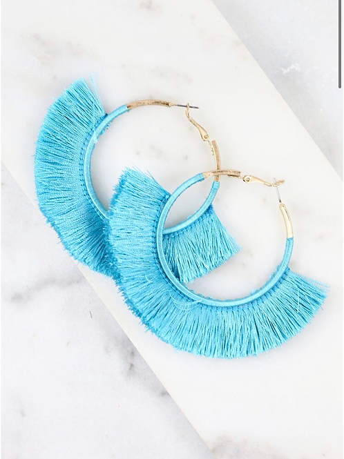Thread wrapped hoop earring with fringe