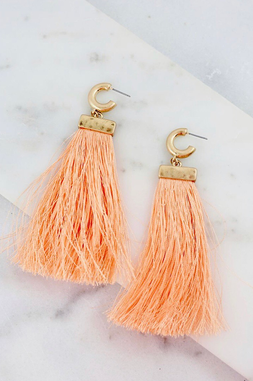Peachy Post Fringe Drop Earrings