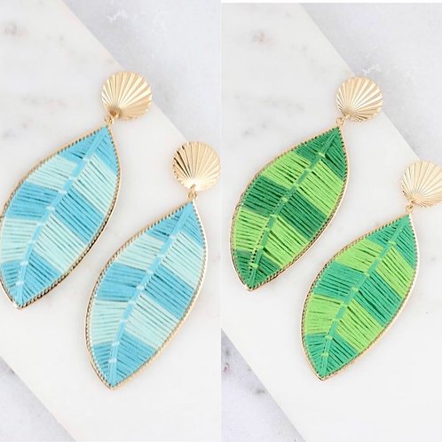 Thread Wrapped Palm Leaf Earrings