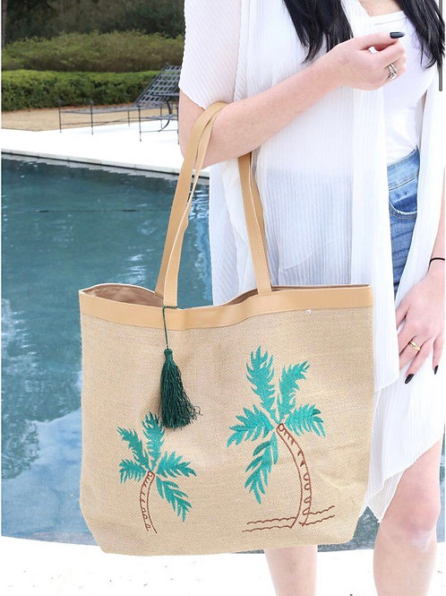 Under The Palm Tree Beach Tote