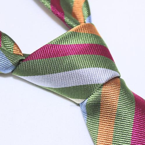 Seoul | Designer 100% Silk Woven Men's Necktie by SUH SOO MI | Olive Club Tie with Multi-coloured Stripes