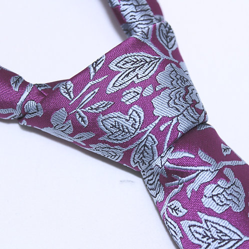 Longchamp | Designer Woven Men's Necktie by SUH SOO MI | Pink Floral Tie with Grey Outlined Stems & Petals