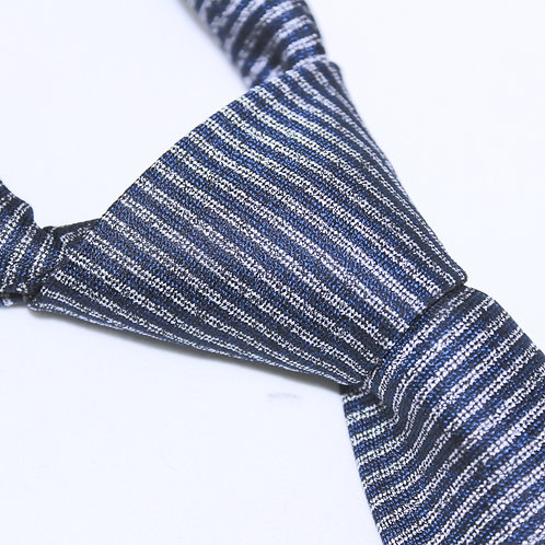 Persian Gulf | Designer Woven Men's Necktie by SUH SOO MI | Navy Striped Tie with Grey Horizontal Stripes with Gold