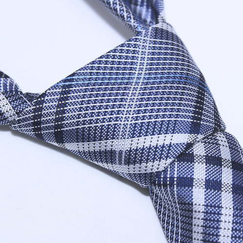 Oak Park | Designer Woven Men's Necktie by SUH SOO MI | Navy, Royal & White Tartan Tie