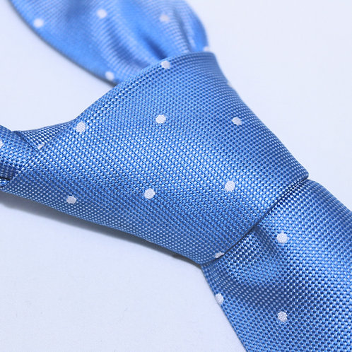 Busan | Designer Woven Men's Necktie by SUH SOO MI | Bright Pale Blue Tie with Pearl Polka Dots