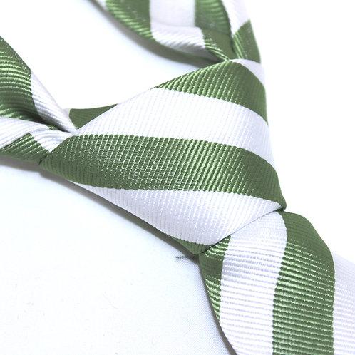 Milsons Point | Designer Woven Men's Necktie by SUH SOO MI | Green Club Tie with White Stripes