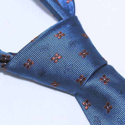 South Georgia | Designer 100% Silk Woven Men's Necktie by SUH SOO MI | Royal Blue Foulard Tie with Orange and Black Chevrons