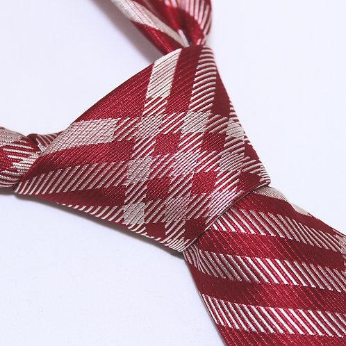Mt. Sakurajima | Designer 100% Silk Woven Men's Necktie by SUH SOO MI | Red Check Tie with Light Gold Pattern