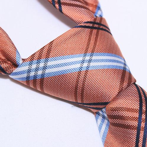 Bourke Street | Designer 100% Silk Woven Men's Necktie by SUH SOO MI | Orange, White, Pale blue & Black Tartan Tie