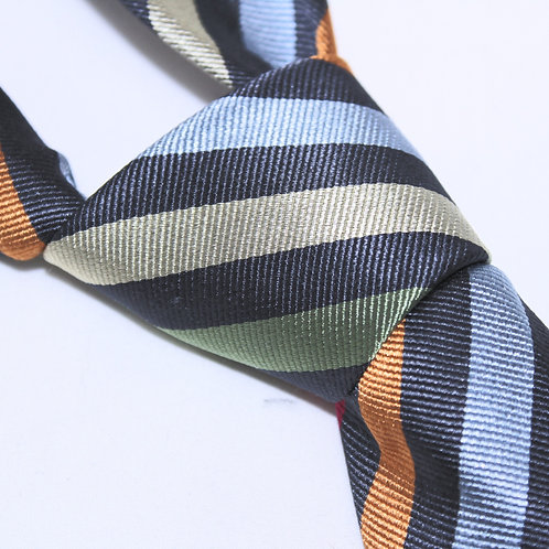 Melbourne | Designer 100% Silk Woven Men's Necktie by SUH SOO MI | Black Club Tie with Multi-coloured Stripes