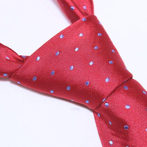 Laguna Colorada Designer Woven Men's Necktie by SUH SOO MI | Red Tie with Royal Blue Polka Dots
