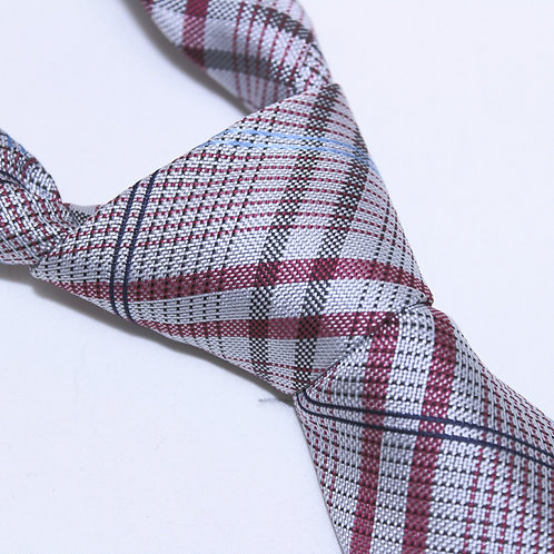 New Norfolk | Designer Woven Men's Necktie by SUH SOO MI | Red, Pink & Pale Blue Tartan Tie