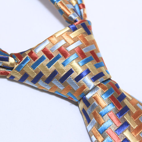Namib Desert   Designer Woven Men's Necktie by SUH SOO MI   Gold Tie with Multi Colored Rectangle Patterns