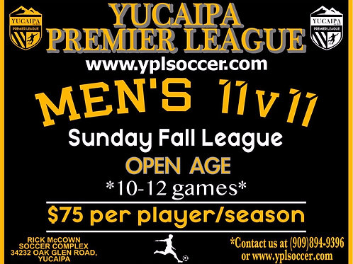 Mens 11v11 OPEN AGE PLAYER REGISTRATION