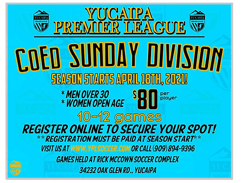 CoEd Sunday Division *MenOver30, Women Open Age*