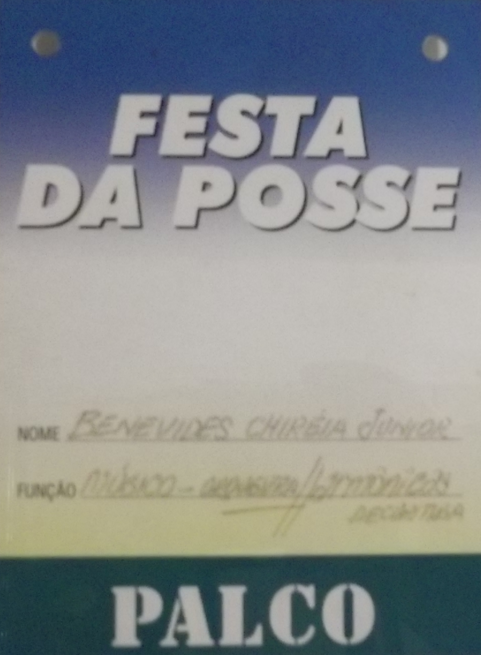 Crachá Festa da Posse FHC