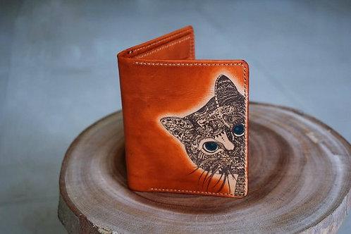 ручная работа,кошелёк кожаный, кошелёк женский,котик,OvLGroup, купить кошелёк, кошелёк ручной работы, купить себе кошелёк,