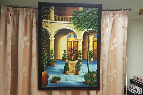 Купить картину маслом, кубинский дворик, красивая картина, интересная картина кубинского художника, OvLGroup,