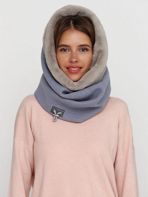Шарф-капюшон ручной работы, капюшон женский зимний, стильный капюшон-шарф,