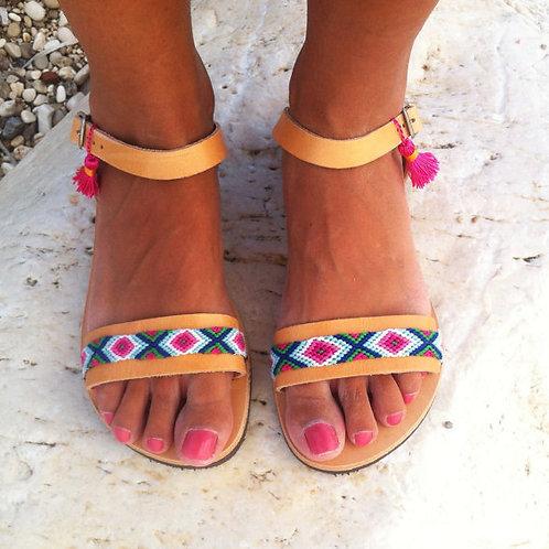 Женские сандалии из кожи.Ручная работа.Греция.Women's sandals made of leather. Hand work. Greece.