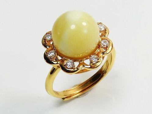 кольцо с цирконием и янтарём, подарок на новый год,OvLGroup,